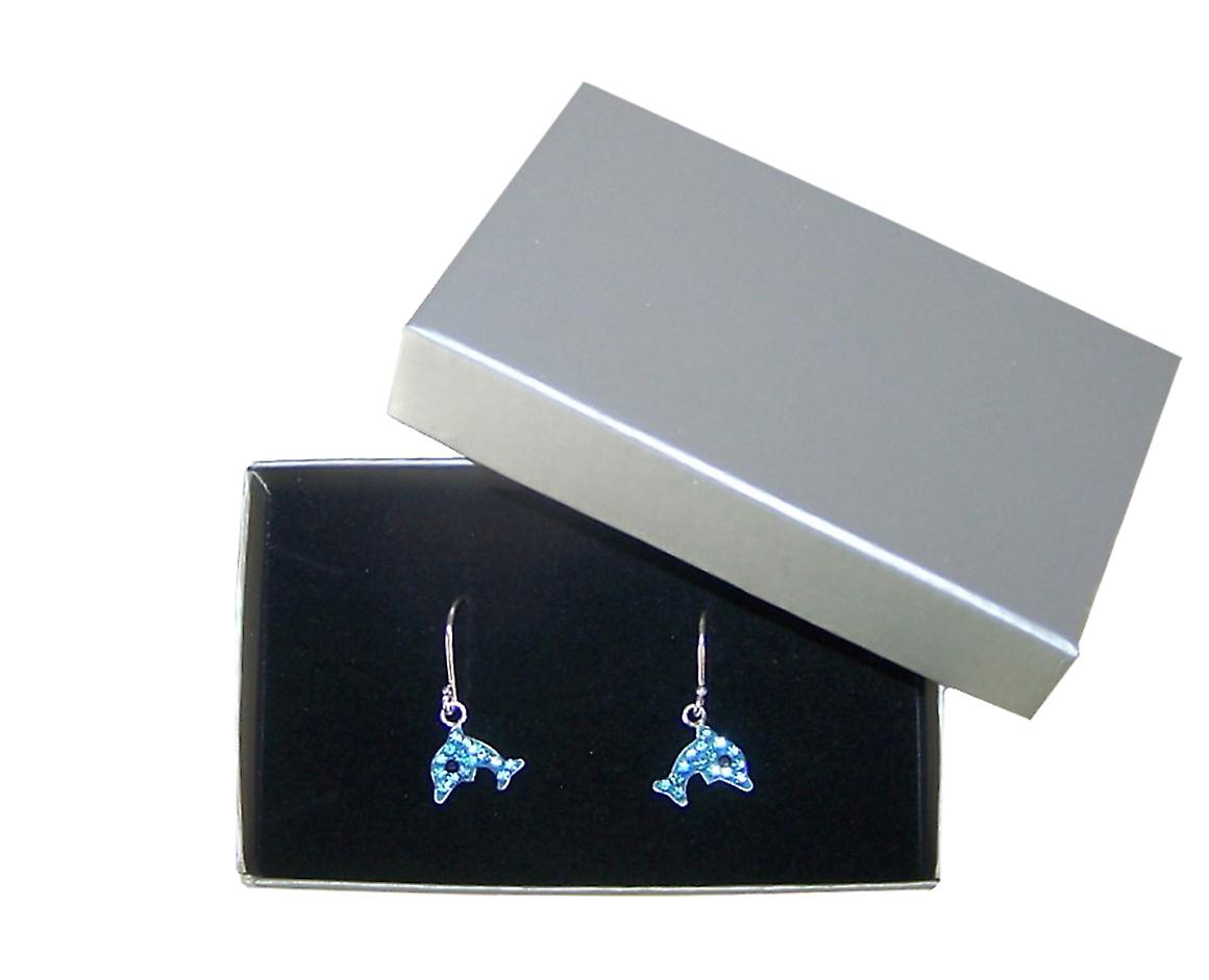 Girls blue crystal dolphin silver hoop earrings