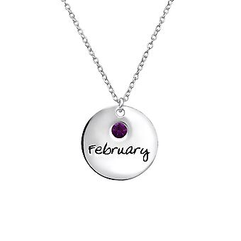 February Birthstone - 925 Sterling Silver Jewelled Necklaces - W30215x