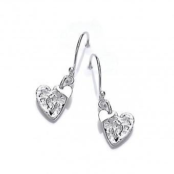 Cavendish French Crumpled Silver Heart Earrings