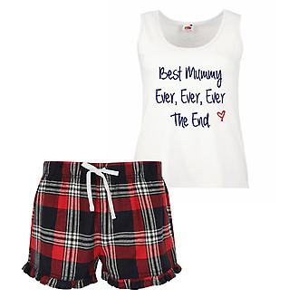 Best Mummy Ever Ever Ever The End Ladies Tartan Frill Short Pyjama Set Red Blue or Green Blue