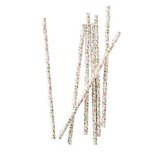 Ditsy Floral Paper Party Straws x 25