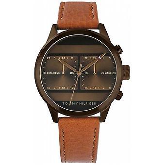 Tommy Hilfiger Correa de cuero marrón de los hombres Reloj 1791594