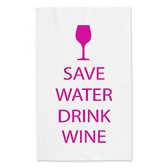Save Water Drink Wine White Tea Towel Pink Text