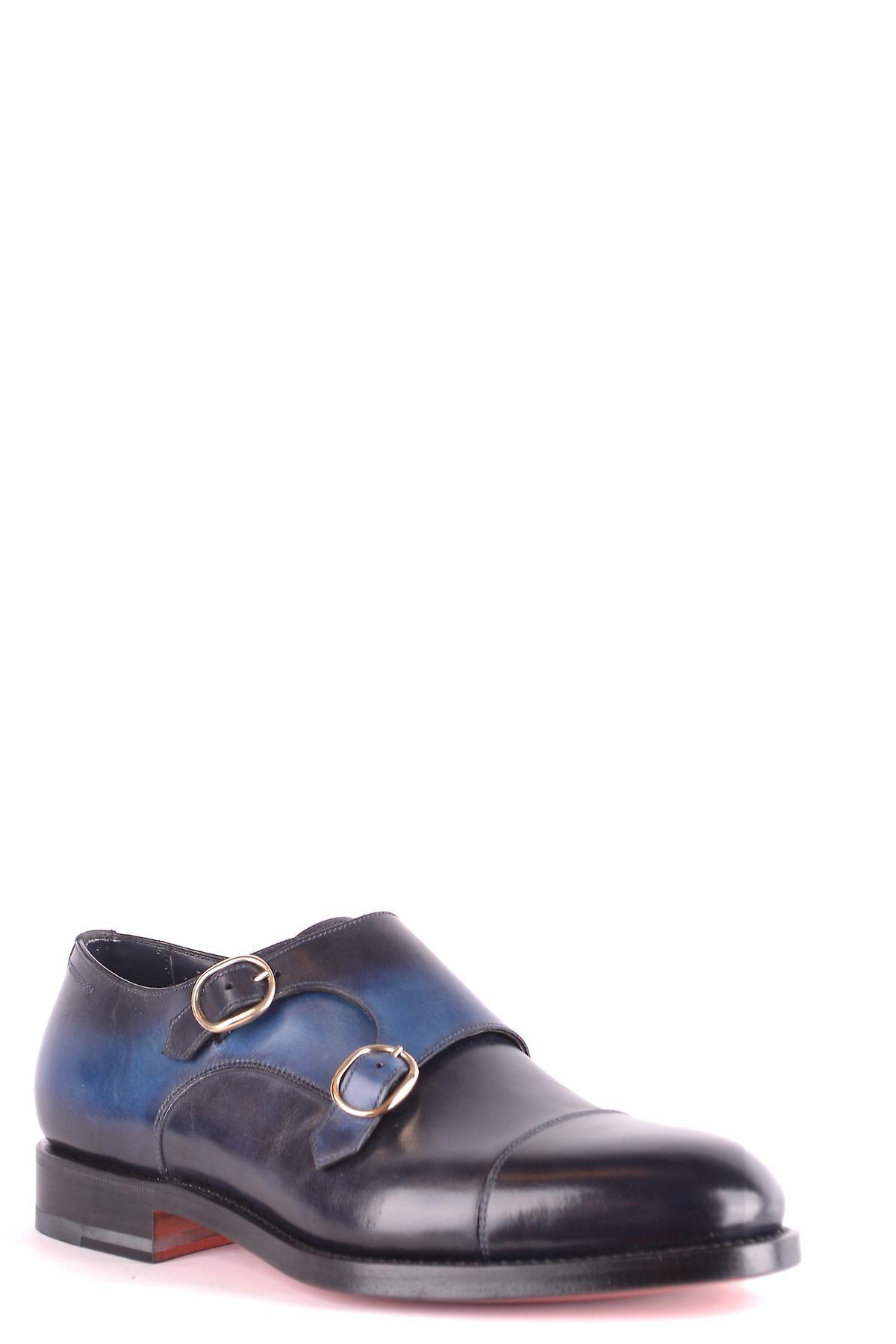 Chaussures Santoni Mcco1397mc1hslpu55 Men-apos;s Blue Leather Monk Strap Chaussures