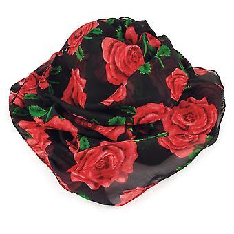 永遠のコレクション英語ローズ赤と黒のマルチ色の純粋なシルク スカーフ