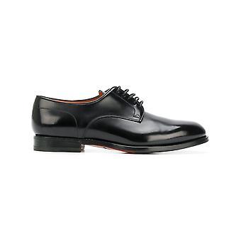Santoni Mcc014272jj1inovn01 Men's Black Leather Lace-up Shoes