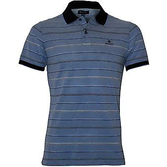 GANT Oxford Stripe Pique Rugger Pikétröja, Palace Blå