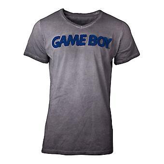 Nintendo T-Shirt acid vasket Gameboy menns T-skjorte Grey Large (TS127478NTN-L)