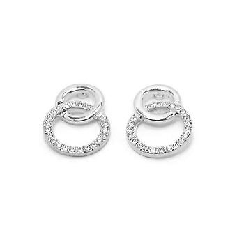 VIP Silver Plated Crystal Set Double Circle Stud Earrings