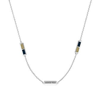 Georgia Institute Of Technology Sterling Silver Engraved Triple Station Necklace In Tan & Blue