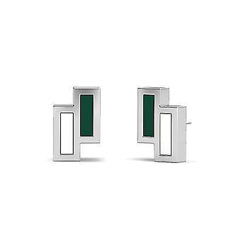 Universiteit van Hawaii Sterling Zilveren Asymmetrische Email Stud Oorbellen in groen en wit