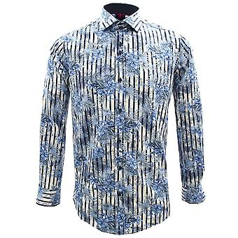 Guide London Blue Flowers Navy Stripes Print Pure Cotton Long Sleeve Mens Shirt