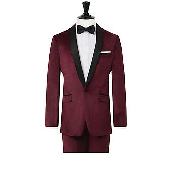 Dobell Mens Burgundy Velvet 2 Piece Tuxedo Slim Fit Kontrast Shawl Lapel