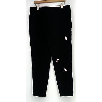 Denim & co. stor farge pull-on strekk denim leggings svart A296803