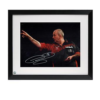 Phil Taylor Signed Darts Photo: 2018 World Darts Championships. Framed