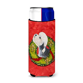 Dandie Dinmont Terrier Cristmas Wreath Ultra Beverage Aislantes para latas delgadas S