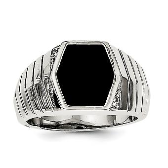 925 Sterling Silver Solid Polished Open dos Homme Cubic Zirconia et Simulated Onyx Ring - Taille de l'anneau: 9 à 11