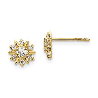 14k Yellow Gold Polished CZ Cubic Zirconia Simulated Diamond Flower Post Earrings Measures 7x7mm Wide Jewelry Gifts for