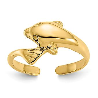 14k Yellow Gold Polished Dolphin Toe Ring Jewelry Gifts for Women - 1.2 Grams