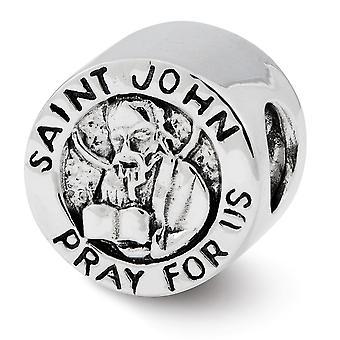 925 sterling silver polerad antik finish reflektioner Saint John be för oss pärla charm