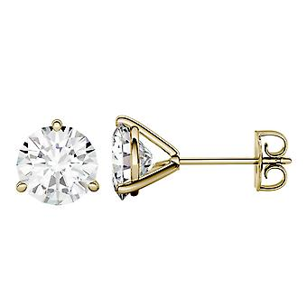 14K Yellow Gold Moissanite by Charles & Colvard 7.5mm Round Stud Earrings, 3.00cttw DEW