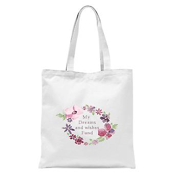 My Dreams And Wishes Fund Floral Ring Tote Bag - Blanc