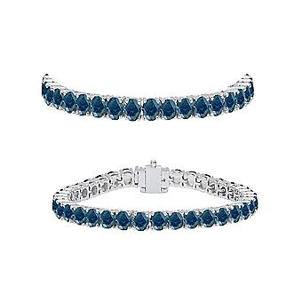 Dazzlingrock Collection 5.00 Carat (ctw) 14K Round Cut Real Blue Diamond Ladies Tennis Bracelet 5 CT, White Gold