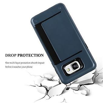 Cadorabo Case for Samsung Galaxy A5 2016 - Case in ARMOR DUNKEL BLUE - Phone Case with Card Tray - Hard Case TPU Silicone Protective Case for Hybrid Cover in Outdoor Heavy Duty Design