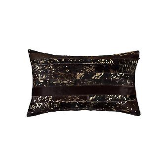"""12"""" x 20"""" x 5"""" Chocolate and Gold  Pillow"""