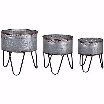 Foretrukket sæt af 3 galvaniserede metal badekar