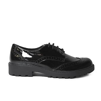 Geox Casey J6420N Black Patent Leather Girls Lace Up Brogue School Shoes