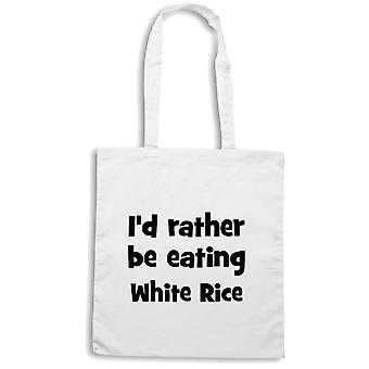 White shopper bag wtc1803 rather be eating rice