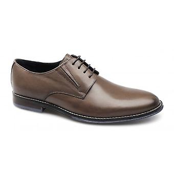 Hush Puppies Style Oxford Mens Plain Toe Leather Lace-up Shoes Tan