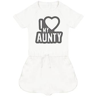I Love My Aunty Black Outline Baby Playsuit