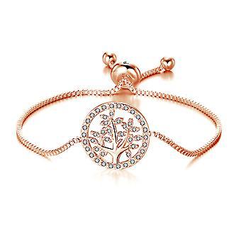 Rose goud levensboom armband gemaakt met swarovski® kristallen