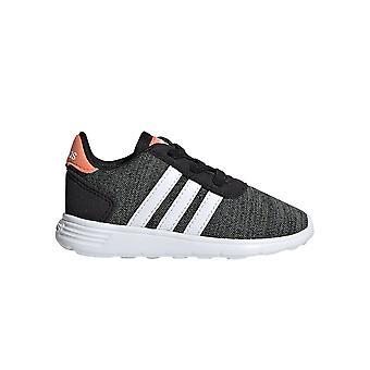 أديداس لايت المتسابق الرضع الأطفال الفتيات الرياضة المدرب حذاء أسود / أبيض / وردي