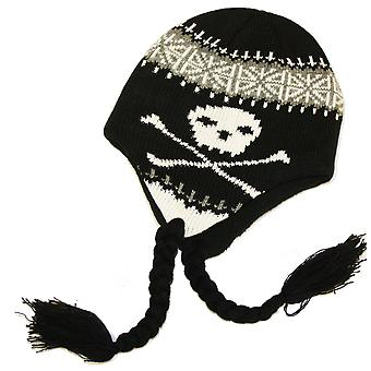 Kids Boys Knitted Skull Logo Peru Style Beanie Warm Thermal Winter Hat