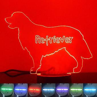 Retriever hund farve skiftende LED akryl lys