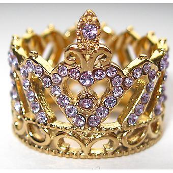 اه! مجوهرات 18ct الذهب على الفولاذ المقاوم للصدأ مكعب زيركونيا كريستال ولي العهد خاتم. 17mm واسعة. لافتة جدا لافتة للنظر