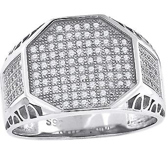 925 Sterling Silver Micro Pave CZ Cubic Zirconia Simulated Diamond Mens Fashion Ring Band Jewely Gifts for Men - Ring S