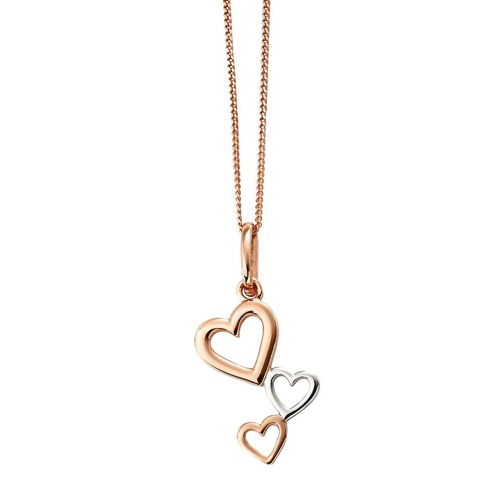 Joshua James Allure Silver With Rose Gold Plating 3 Heart Drop Pendant