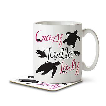 Crazy Turtle Lady - Mug and Coaster