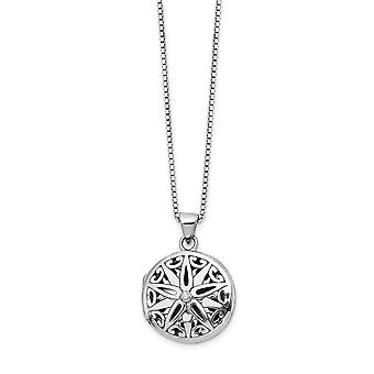 Polished White Ice Diamond Star Locket Necklace 18 Inch Jewelry Gifts for Women - .010 dwt
