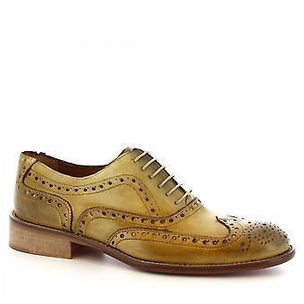 Leonardo Shoes Men's handmade elegant brogues oxford shoes beige calf leather