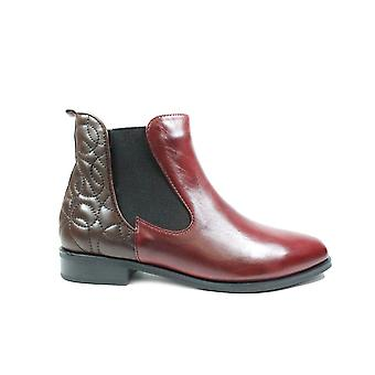 Canal Grande Percy Sangria Red/Brown Leather Womens Zip Up Chelsea Boots