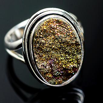 Spectro Pyrite Druzy Ring Size 7.75 (925 Sterling Silver)  - Handmade Boho Vintage Jewelry RING995147