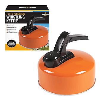 Milestone Aluminium Whistling Camping Kettle Orange 1L