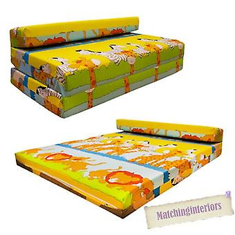 Ready Steady Bed Childrens Double Fold Out Z Bed Sofa Savannah, Cotton, Yellow, Three_Seats