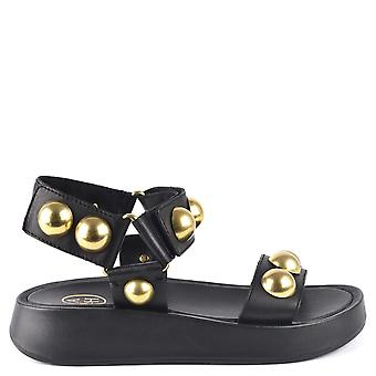 Ash VLILCAN Sandals Black Leather & Gold Ball Studs