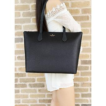 Kate spade joeley glitter penny large top zip tote handbag wkru6278 black